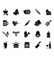 Black Grill and Barbecue Icons vector image