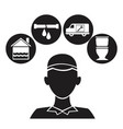 black silhouette plumber with set icons plumbing vector image