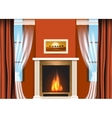 Classic living room interior with fireplace vector image