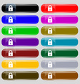 closed lock icon sign Big set of 16 colorful vector image