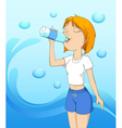 girl drinking water vector image