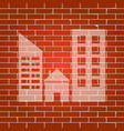 real estate sign whitish icon on brick vector image