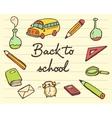 School icons set back drawn vector image