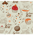 Seamless background with tea and sweets vector image