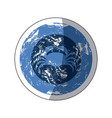 sticker old blue circular ornament with crab vector image