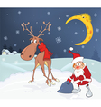 Christmas Card with Cute Santa Claus and Reindeer vector image vector image