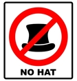 No Top hat sign text in red vector image