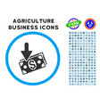 income rounded icon with set vector image