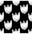 Cartoon scary ghosts in Halloween seamless pattern vector image vector image