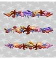 Creatures of sea clams Three horizontal sets vector image