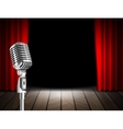 Microphone and red curtain vector image
