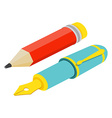 Isometric fountain pen and pencil on white vector image