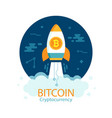bitcoin growth concept with rocket vector image