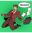 Business success businessman screaming with joy vector image