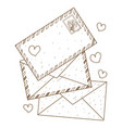 envelopes and letters outline drawing for vector image