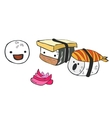 Funny cartoon little sushi communicate with each vector image