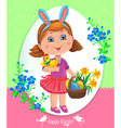 Easter card with girl vector image vector image
