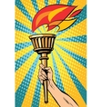 torch with fire in the hand vector image