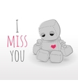 Cute sad felt robot plush toy vector image