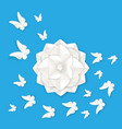 flora origami elements of luxury white flower and vector image