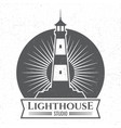 grunge lighthous silhouette logo or label vector image