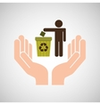 hands care environment recycle trash vector image