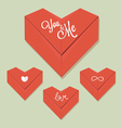 Origami heart red paper vector image