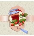 Strawberry jam jar vector image