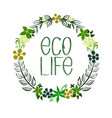 wreath of leaves and flowers eco organic vector image