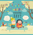 young couple sending love messages using cellphone vector image