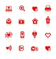 Set valentines day red symbols vector image vector image