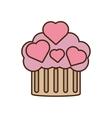 cupcake pink hearts wedding snack icon vector image