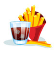 french fries and soda vector image
