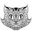 hand drawn outline doodle cat head zentangle vector image
