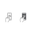 Set of Icons with Hands Holding Smart Device with vector image