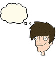 cartoon smiling man with thought bubble vector image