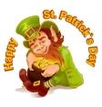 Dwarf embraced pot of gold Patricks Day vector image