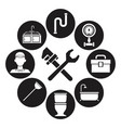 black silhouette set icons plumbing with wrench vector image