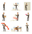 business fail and manager suffering loss and being vector image