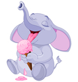 Elephant eating ice cream vector image vector image
