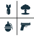 army icons set collection of weapons atom vector image