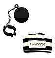 Prisoner hat and shackle vector image