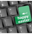 happy Easter text button on keyboard with soft vector image vector image