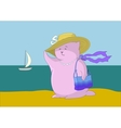 Woman - a fantastic toy animal on the beach vector image vector image