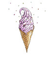hand drawn with ice cream cone vector image