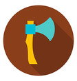 Hatchet Tool Circle Icon vector image
