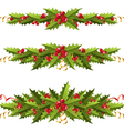 Holly berry borders vector image