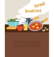 Israeli breakfast with shakshuka coffee and salad vector image