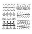 set of seamless doodle borders with boho patterns vector image