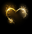 Sparkling heart on black vector image